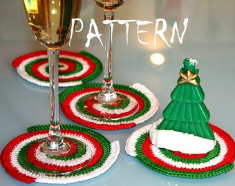Crochet pattern. Spiral Crochet Coasters. 3 colors.