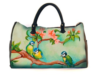 Travel bag, weekend bag, Birdgirl, sports bag, bird girl, green, colourful, print, retro