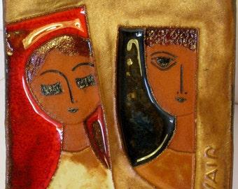 Mid Century Modern abstract studio art tile by Yair of Israel