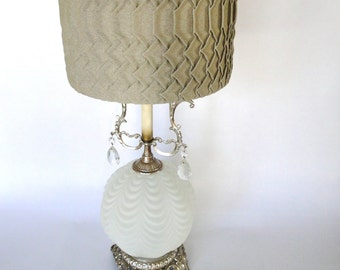 Vintage Lamp Boudoir Light White Frosted Sphere Scalloped Crystal  Filigree Metallic Footed Base Hollywood Regency 1960s Mid Century Light