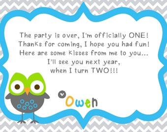 Gray Chevron Hoot Owl First Birthday -- Printable Thank You