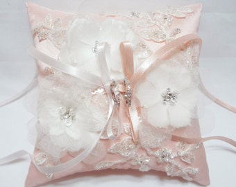 Wedding Ring Pillow - pink satin silk ring pillow, floral ring pillow, ring bearer pillow