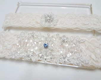 Wedding Garter Set , Something blue garter set , Wedding Bridal Garter, Lace Garter, Ivory lace with Swarovski rhinestone