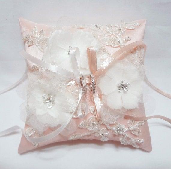 Wedding Ring Pillow pink satin silk ring pillow floral ring