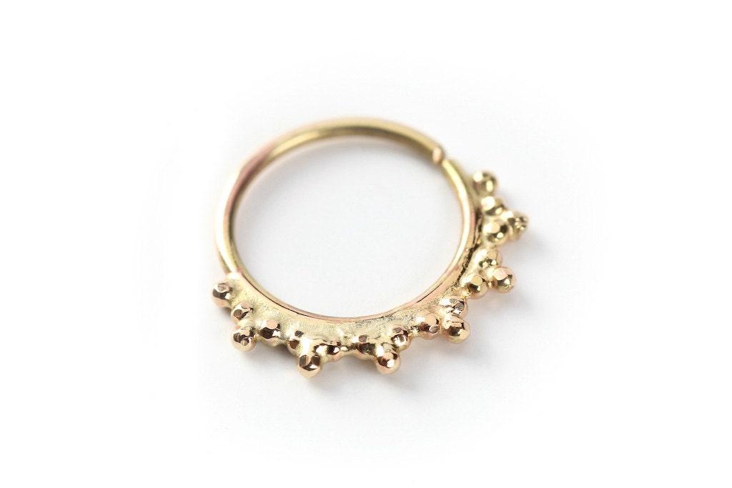 nose ring primitive gold nose ring 14 karat yellow gold