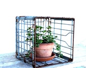 Vintage Metal Milk Crate / Industrial Storage / Dairy Crate Free Shipping