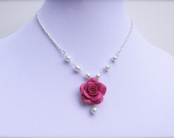 Pink Fruit Punch Rose Necklace , Pink Rose Centered Necklace, Pink Bridesmaid Necklace, Pink wedding Necklace.