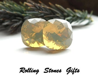 10mm Sand Opal Swarovski Rounded Corner Rhinestone Stud Earrings-Sand Opal Crystal Studs-Opal Crystal Stud Earrings-rostone