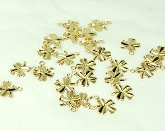 Shamrock charm 25 pieces Four leaf clover charm gold plated  jewelry supply leaf charm Irish charm St. Patricks Day
