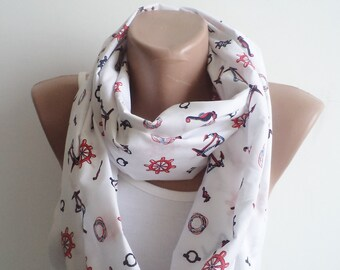 Circle Scarf, Sailor Patterned Scarf, Cotton Hnadmade Scarf, For Her Gifts, Accessories, Women Scarf, Mom Gifts