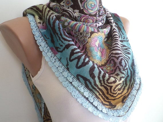 Women scarf, women accessories, shawl, scarf, blue, brown multicolor, leopard, flowers, wedding accessories. mothers day gifts