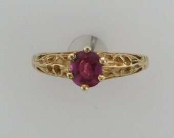 Yellow Gold Filigree Ring Set with Ruby; Ruby Ring, Filigree Ruby Ring; Yellow Gold Filigree; Ruby Solitaire; Alternate Engagement Ring