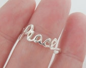 Silver Ring, Silver Jewelry, Peace Ring, Peace Jewelry, Cursive Ring, Jewelry, Rings, Silver, Jewelry, Cursive Jewelry, Love Jewelry.