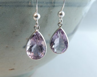 Sterling Silver Gemstone Amethyst Earrings, Jewelry, Earrings, Silver Earrings, Gemstone Earrings, Gemstone Jewelry.