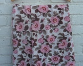 Vintage retro handmade curtains / fabric in a bold floral dogrose pattern circa 1960's / 70's