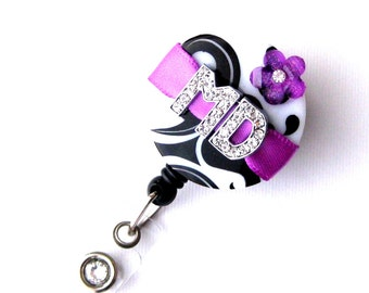 Custom Grape MD Blossom Bling - Designer Name Badge Pulls - Unique ID Badge - Stylish Badge Clip - Personalized Nurse Jewelry - BadgeBlooms