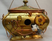 Whimsical Recycled Brass India Box Birdhouse-BH036
