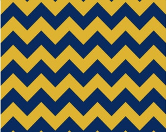 Medium Chevron Blue/Gold by Riley Blake Designs 1 Yard Cut