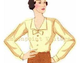 Plus Size Pattern (or any size) Vintage 1934 Blouse - PDF - Pattern No 97 Harriet