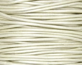 EXTRA FINE .5MM Leather Cord-3 Yards-Round-Metallic Pearl