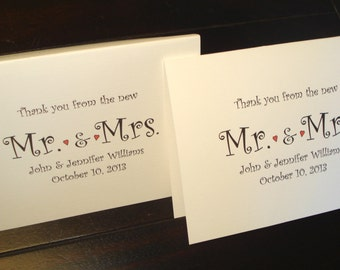 70 Personalized Note Cards Stationery for Wedding or bridal Shower Thank You Notes, Custom Printed with Name and Wedding Date.