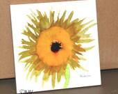 "Ceramic Tile or Coaster - Sunflower 4.25"" x 4.25"""