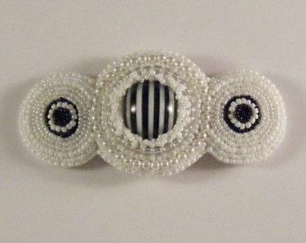 "Black and White ""Humbug"" Bead Embroidered Barrette EBEG Mini Fest  No 1"