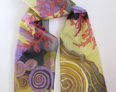Hand painted silk scarf. Fashion Pattern Soft Long Shawl Wrap.Coral. Multicolor--Yellow Red Blue Grey Light Khaki Olive Purple. 70'' x 14''