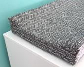 charcoal feather chevron contoured changing pad cover