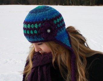 SALE PRICED!!! Womens Crocheted Earflap Hat/Ready to Ship