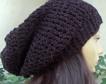 Dark Purple, Hand Knit, Slouchy, Oversized, Acrylic/Polyester, Beanie Hat with Two-Inch Headband for Women or Men