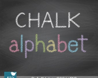 Hand Drawn Chalk Alphabet - Digital Clipart / Scrapbooking colorful - card design, invitations, web design - INSTANT DOWNLOAD
