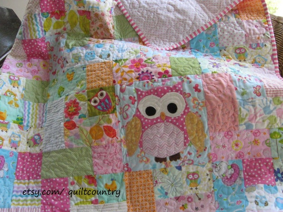 Baby Girl Owl Quilt Owl Nursery Decor Girls Crib Bedding