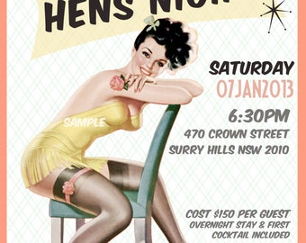 Vintage Pin Up Girl  Invitation- Bachelorette party, Hens night, Lingerie Shower Birthday invite diy print file or printed optional