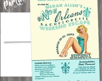 Vintage New Orleans Pin Up Girl Invitation- Bachelorette party, Lingerie Shower Birthday invite diy print file PRINTED OPTIONAL