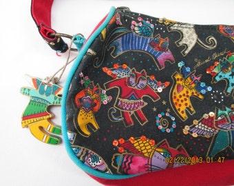 Laurel Burch cat motif colorful handbag