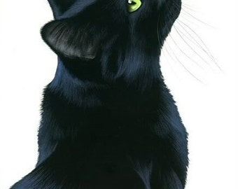 Black Cat Print Black Elegance by Irina Garmashova