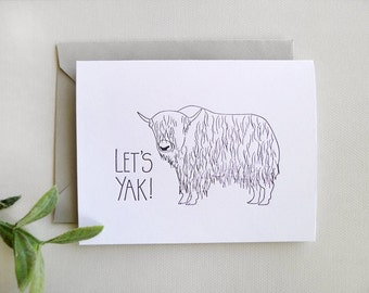 Letterpress Yak - Single Card