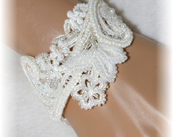 Wedding Bracelet - Lacey Swirls White Floral With Pearls and Seed Beads