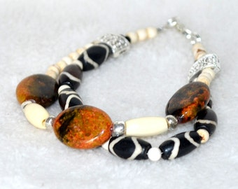 Beaded Bracelet of Bone, White Turquoise and Natural Stones