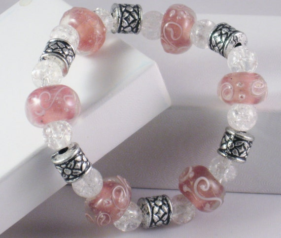 Beaded, Stretch Bracelet in Pink and Silver