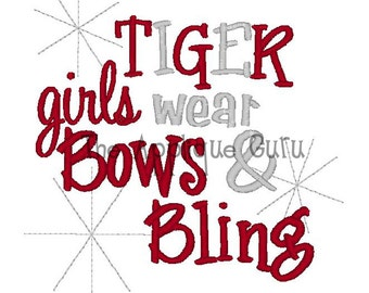 Tiger Girls Wear Bows and Bling -- Machine Embroidery Design