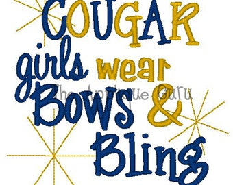 Cougar Girls Wear Bows & Bling -- Machine Embroidery Design