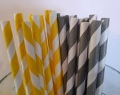 25 Yellow and Light Gray Stripped Paper Straws-  Food Safe, Biodegradeable, Soy Based Ink- Baby Shower Decorations