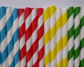25 Thomas the Train Mixed- Yellow Red Blue Green Striped Paper Straws-Thomas the Train Birthday Party- Super Hero Decorations