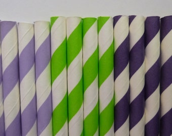 50 Tinkerbell Mixed- Purple Lime Green Lavender Stripped Paper Straws- Tinkerbell, Dora Birthday Party- Baby Shower Decorations