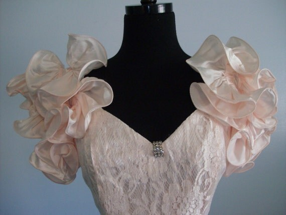 Vintage 1980s Prom Lace dressy dress Party Formal Bridesmaid gown Wedding Evening Dance Pink