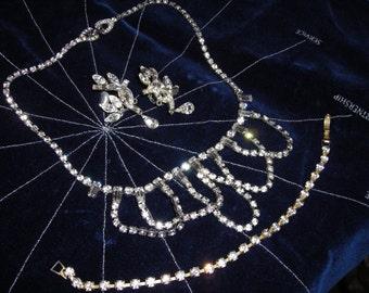 Three Piece Rhinestone Jewelry Set ....Vintage  .......Mad Men ....1950's  Style  Rhinestone Bling Bling...Rhinestone Set