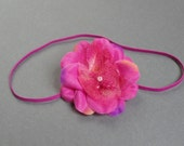 SALE - Newborn photo prop - Fuchsia flower headband - Baby headband