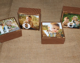 Mothers Day Fathers Day Gift PHOTO BLOCKS Christmas Gifts Personalized Gift for Mom Dad Nana Grandma Grandpa Set of 4 Blocks